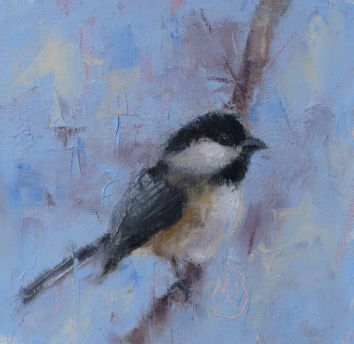 """Chickadee, a companion piece to my other chickadee painting. Original oil painting, 6""""x6"""". Available. You can also buy this image printed on home décor items such as canvas prints and even pillows and coasters. See the Shop tab for more details."""