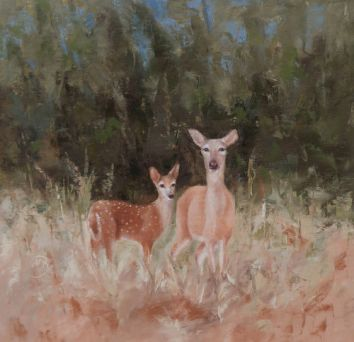 """A protective momma and her fawn at the edge of a forest. 16""""x16"""" original oil painting. Available. You can also buy this image printed on home décor items such as canvas prints and even pillows and coasters. See the Shop tab for more details."""