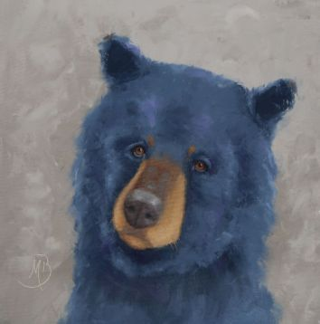 """A young colorful bear saying hello. 16""""x16"""" original oil painting. Available. You can also buy this image printed on home décor items such as canvas prints and even pillows and coasters. See the Shop tab for more details."""