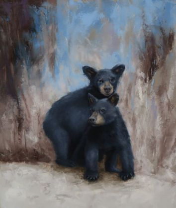"""Two bear cubs tumbling in play. Original oil painting on canvas. 16""""x20"""". Available. You can also buy this image printed on home décor items such as canvas prints and even pillows and coasters. See the Shop tab for more details."""
