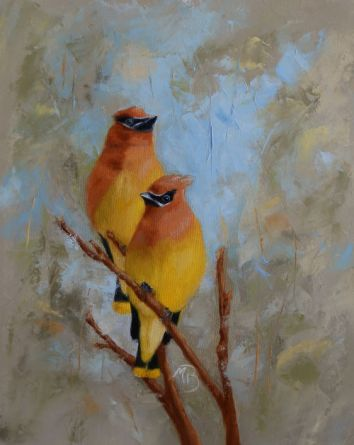"""If you've never seen or heard flocks of Cedar Waxwings descend on berry-laden trees and hedges, to flutter among the branches as they feast, you are missing out. 11x14"""" oil on canvas. Available."""