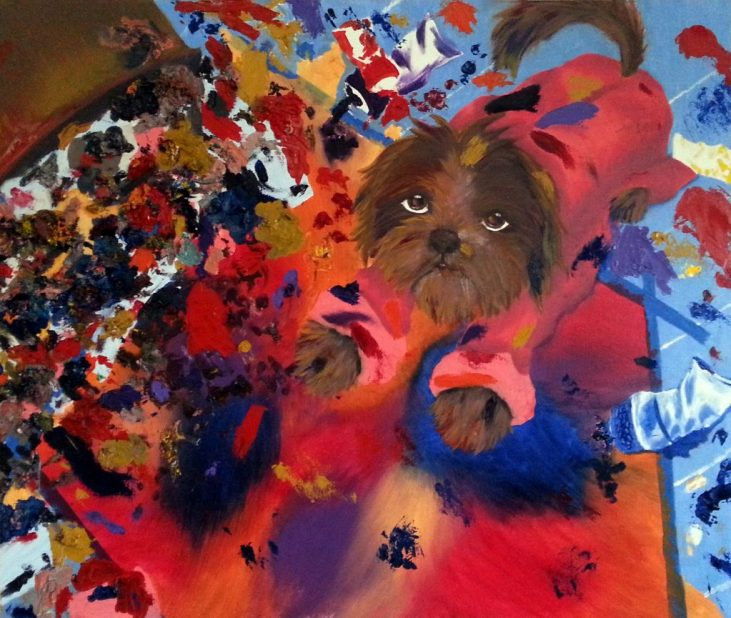 Dana Schutz and Open Casket; Self portrait as a dog oil painting assignment from Dana showing a dog in pink artist's smock painting on the floor with paint and trash