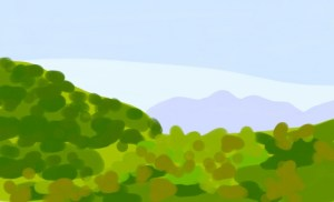 Digital Painting phone painting green hills covered with trees in the foreground and a hazy purple mountain behind them