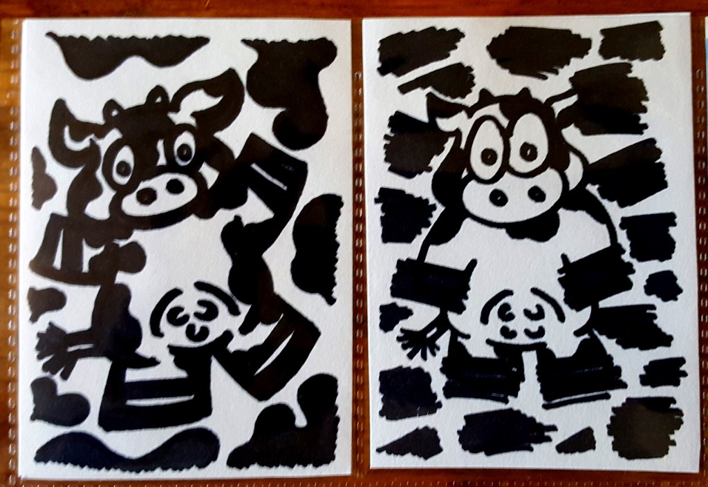 cow make artist trading cards