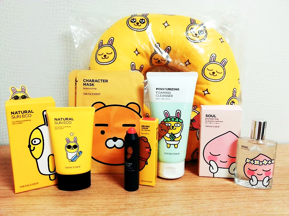 Kakao Friends Face Shop Collaboration Skincare and Makeup haul with skinscreen, face masks, facial cleanser, lip tint, perfume, and a travel pillow in the back
