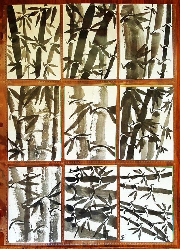 sumi-e beginner 9 bamboo from first session