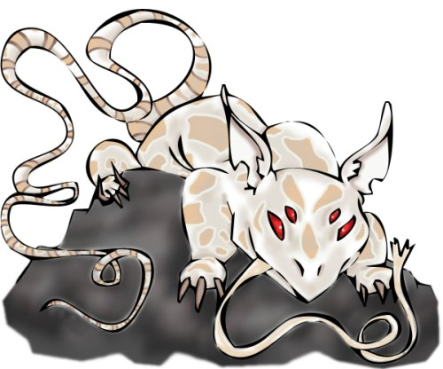 Digital Painting white mythical creature with a long tongue, long tail and four red eyes perched on a gray rock