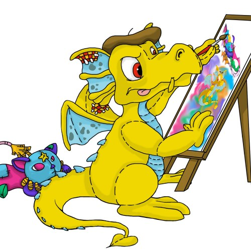 Digital Painting yellow stuffed dragon painting on canvas while a stuffed cat watches