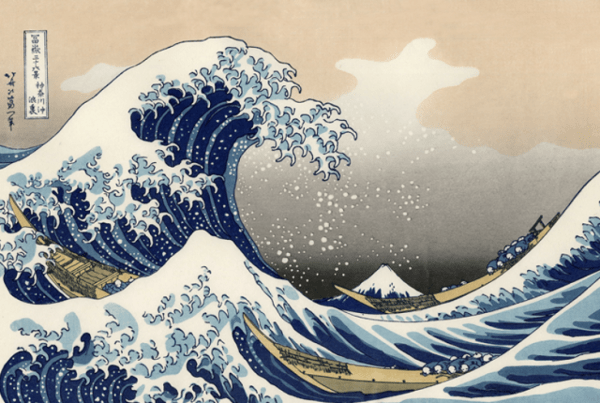 Chiho Aoshima post: Hokusai's famous The Great Wave woodblock print with a massive wave on the left and a small Mount Fuji in the distance, seen underneath the wave.