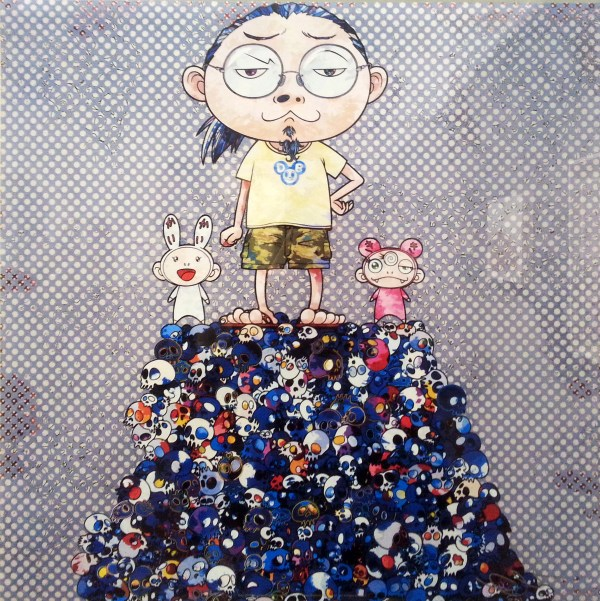 Takashi Murakami self-portrait titled Kaikai, Kiki, & Me: On Blue Mound of the Dead, featuring cartoon image of the artist and two tiny cartoon characters (Kaikai and Kiki) standing on top of a pile of mostly blue cartoon skulls