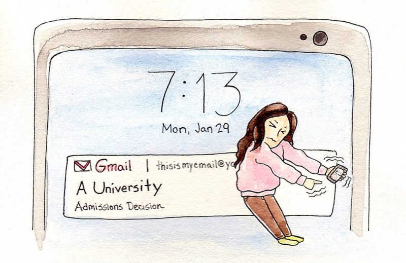 "applying to grad school comics: the top of a smart phone screen shows that the user has received an email from ""A University"" regarding her admissions decision. In the foreground, a woman closes her eyes while reaching out to open the email on her phone."