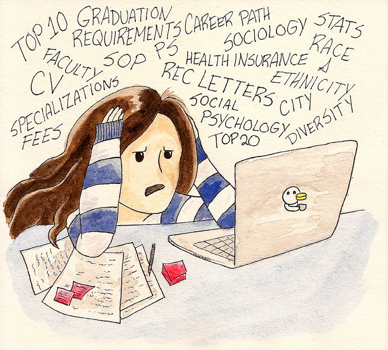 applying to grad school comics: woman at a table in front of a laptop looking frustrated