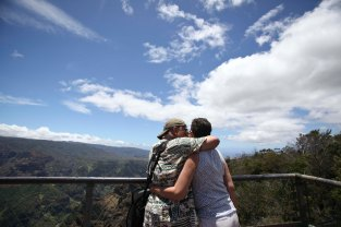 My parents,Craig and Ingrid, embrace at a lookout point at Waimea Canyon in Kauai. They've been married for 25 years! I don't know what I would do without 'em.