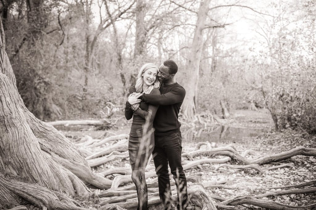 engagement session Camp Ben Driftwood, TX black and white
