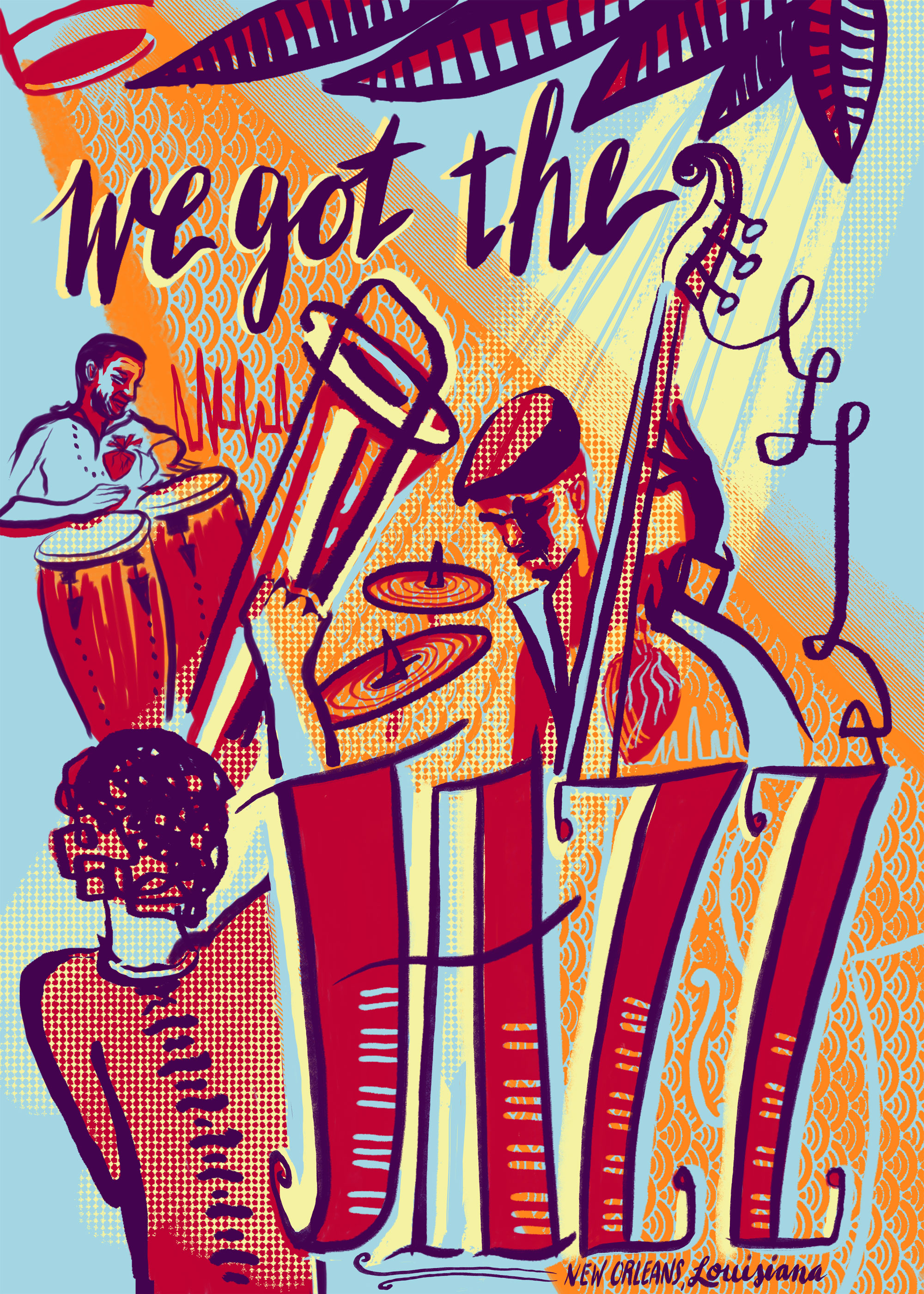 No Jazz Fest >> We Got The Jazz Screen Printed Poster Benefits N O Musicians