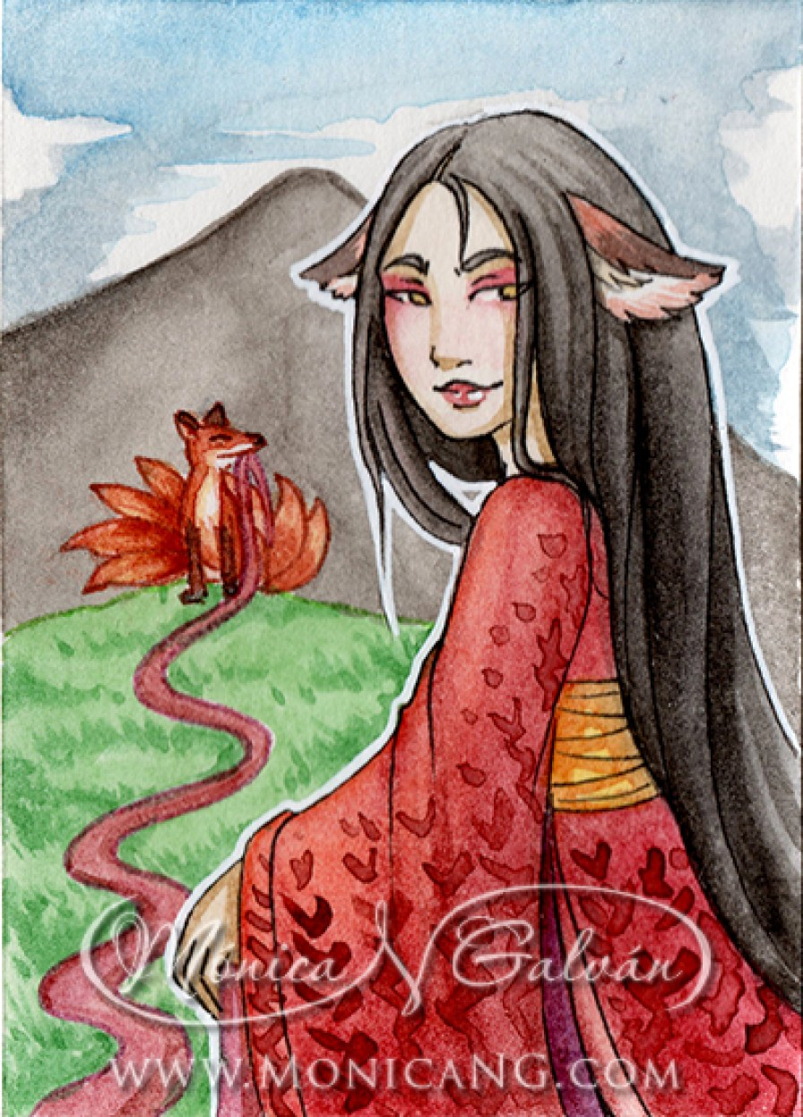 Kitsune of the Silks - Quick ACEO