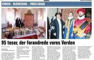 "Avisudklip efter arrangementet ""Til Højbords Med Reformationen"" - Kærum Kirke - 26.02.2017"
