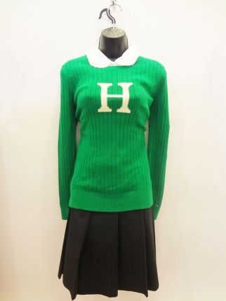Tommy Hilfiger Green Sweater $10.00 - Robert Rodriguez Blouse $130.00 - Banana Republic Pleated Skirt $29.00