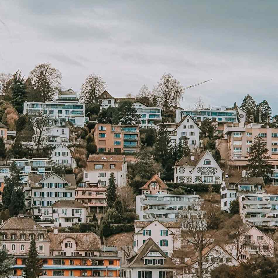 The Pastel Colored Houses  Overlooking Lake Zurich