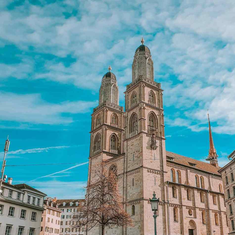 The Grossmünster in Zurich's Scenic Old Town