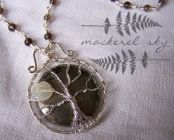 Full moon tree, in sterling silver and pyrite, with moonstone and handmade labradorite chain. 2013