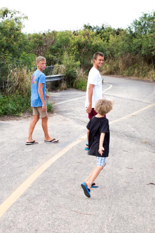 boys on the path
