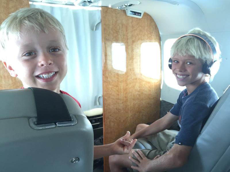 Luke and Levi on Mokulele Airlines