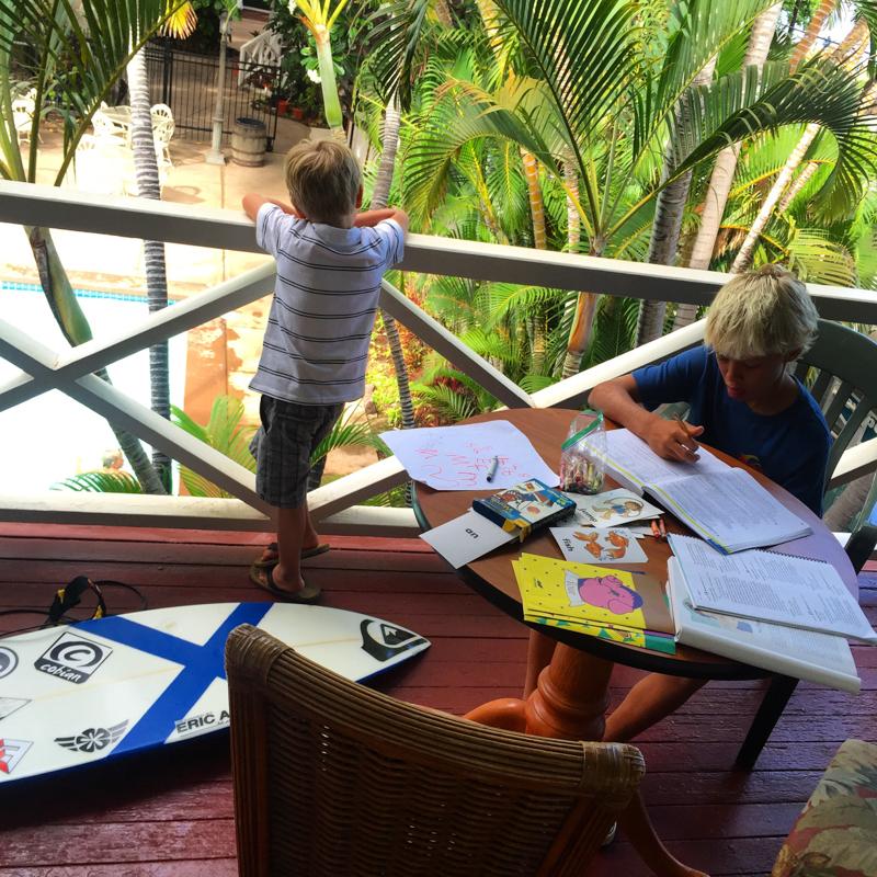 Surfer studies on Deck at Pioneer Inn