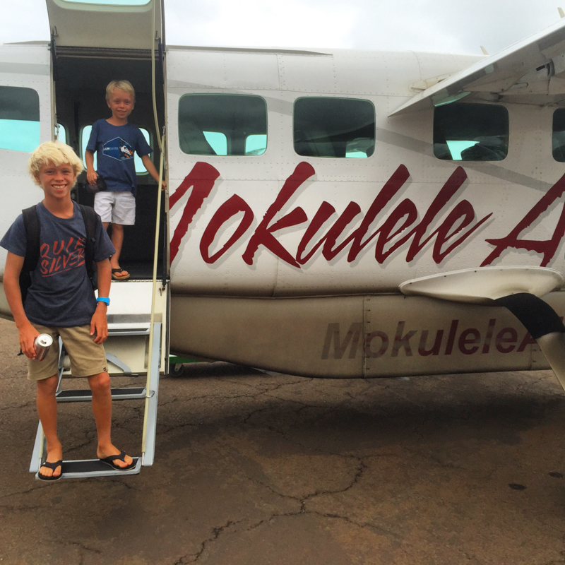 Mokulele Airlines with Swanson boys