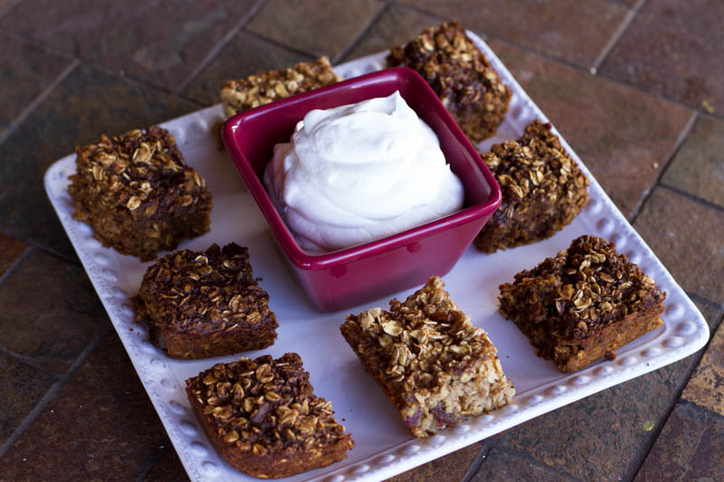 baked gingerbread oatmeal cake w/ whipped cream