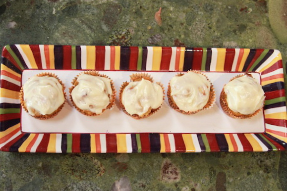 fall muffins, pumpkin w/ cream cheese frosting