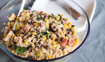 Quinoa Fiesta Salad with Black Beans, Kale, and Corn