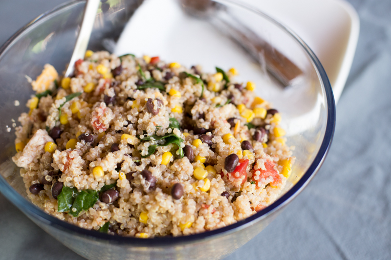 quinoa, black bean, corn, and kale salad