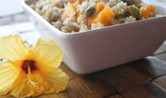 Easy Coconut Rice with Papaya and Pistachios