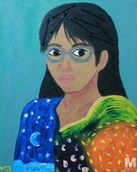 "Self-portrait, Acrylic on 16x20"" canvas"