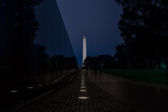 the VIetnam Veterans Memorial at Night