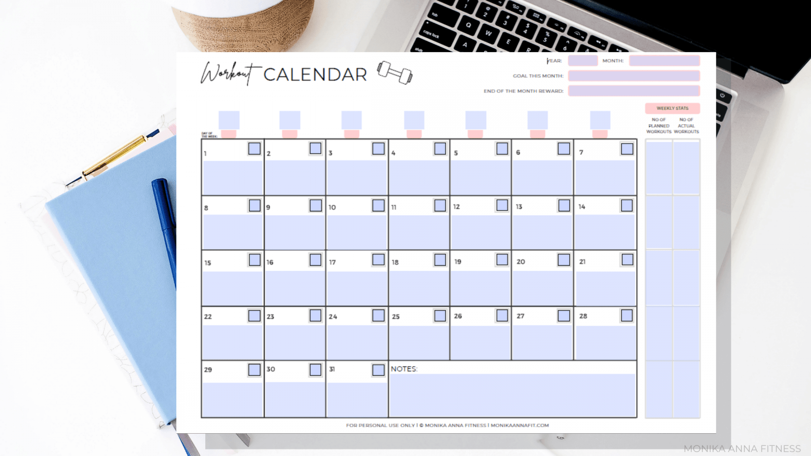 We all have busy days packed with everything from dentist appointments to the kids' soccer practices to the conference calls we aren't exactly looking forward to. Monthly Workout Calendar Exercise Planner Monika Anna Fitness