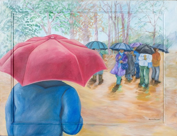 Monika Ruiz Art – Rain, Red Umbrella