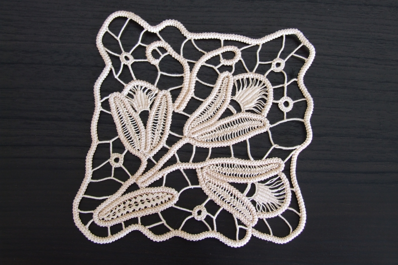Cream Square Handmade Crochet Doily