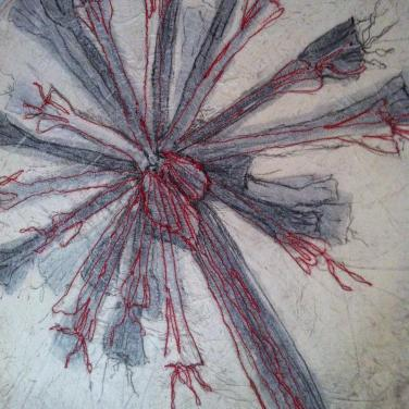 detail Deconstructed Brunsvigia monotype with stitching