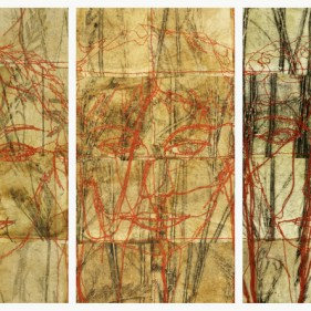 Tea bags, botanical monotypes, stitching