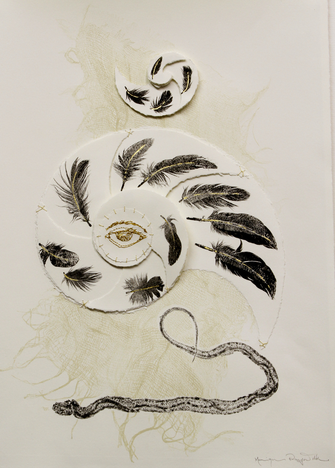 Feather, snake and gauze monotype with torn paper spiral, stitching and metal leaf.