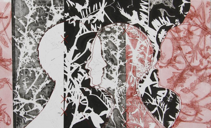 Fynbos monotype collage with stitching
