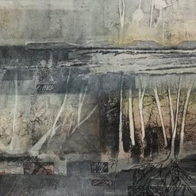 'Trans(c)ience' - Mixed media collage and painting with stitching. Finalist in the 2019 Vuleka Competition
