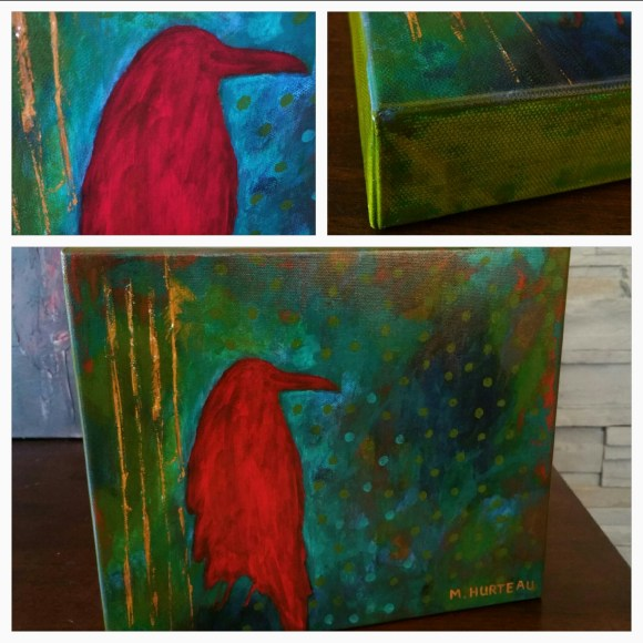 """Red Raven hand embellished prints on canvas 10""""x12"""" $320"""