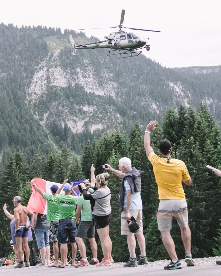 Stage 10 Tour de France Plateau des Glieres Helicopter