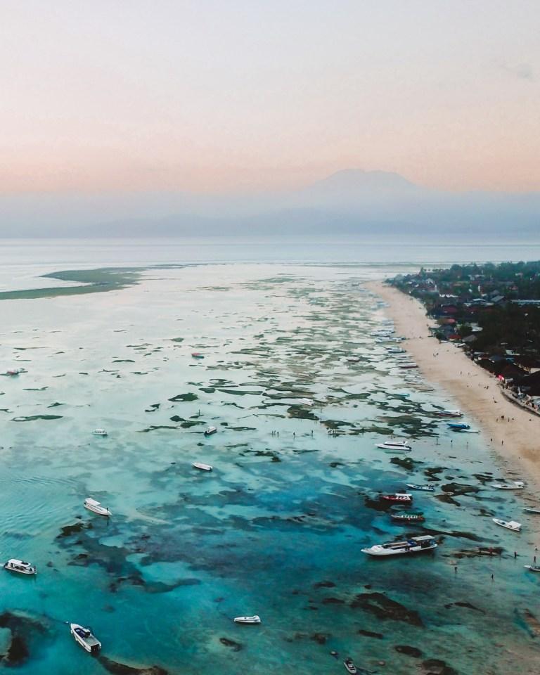 Nusa Lembongan Beach Drone Mount Agung