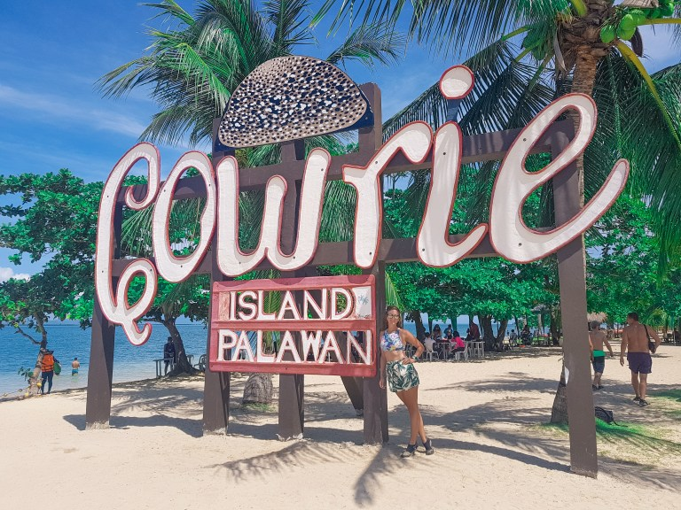 Cowrie Island Palawan Honda Bay Philippines Sign