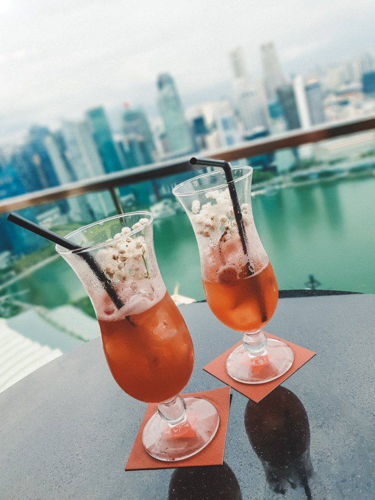 Two Singapore Slings at the Top of Marina Bay Sands with a view of Singapore
