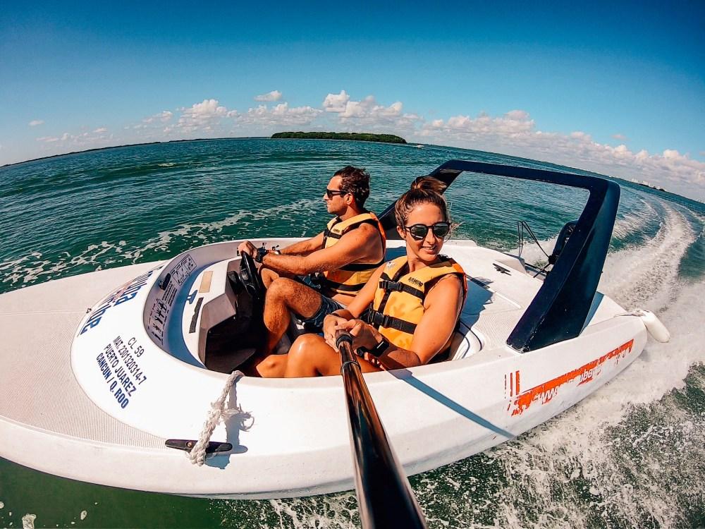 Speedboat Selfie Jungle Tour MUSA Cancun Mexico North America